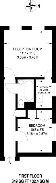 Large floorplan for Filmer Road, Fulham, SW6