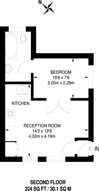 Large floorplan for Lambs Conduit Passage, Bloomsbury, WC1R
