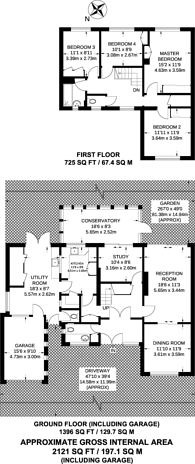 Large floorplan for Pine Walk, Sutton, SM5