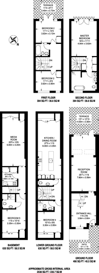 Large floorplan for Clareville Grove, South Kensington, SW7
