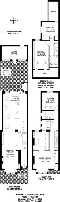 Large floorplan for Second Avenue, Acton, W3