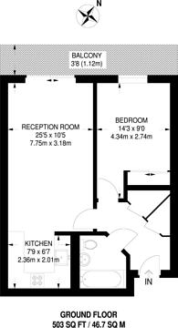 Large floorplan for Chartfield Avenue, Putney, SW15