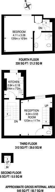 Large floorplan for Thurlow Park Road, Tulse Hill, SE21