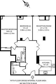 Large floorplan for Shoot Up Hill, Kilburn, NW2