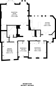 Large floorplan for Hyde Park Place, Hyde Park Estate, W2