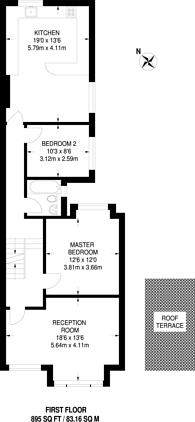 Large floorplan for Mantilla Road, Furzedown, SW17