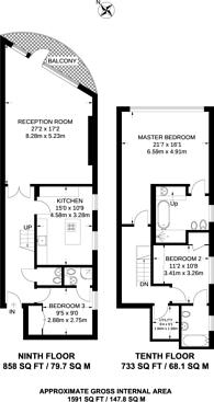Large floorplan for Paddington Basin W2, Paddington, W2