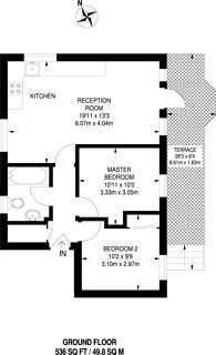 Large floorplan for Caledonian Wharf, Canary Wharf, E14