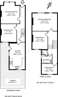 Large floorplan for St Dunstans Road, Hammersmith, W6