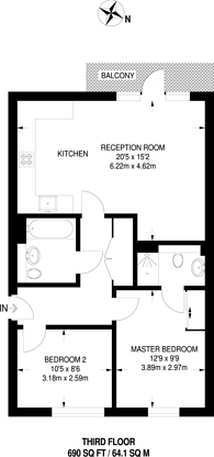 Large floorplan for Lochinvar Street, Nightingale Triangle, SW12
