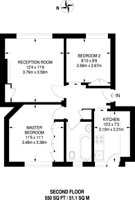 Large floorplan for Kimpton Court, Camberwell, SE5