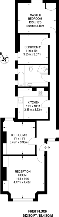 Large floorplan for Rostrevor Road, Parsons Green, SW6