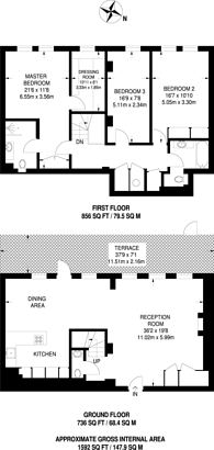 Large floorplan for Queen Anne Street, Marylebone, W1G