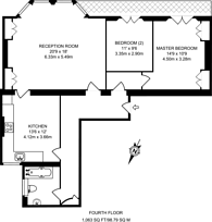 Large floorplan for Trebovir Road, Earls Court, SW5