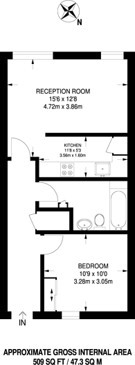 Large floorplan for Printers Road, Stockwell, SW9