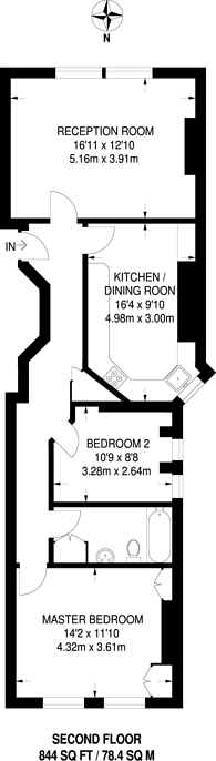 Large floorplan for Lordship Place, Chelsea, SW3