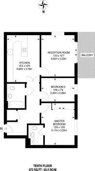 Large floorplan for Millharbour, Canary Wharf, E14