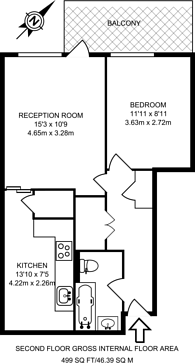 Large floorplan for Cossall Walk, Peckham, SE15