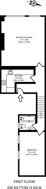 Large floorplan for Electric Avenue, Brixton, SW9