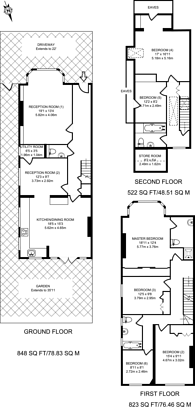 Large floorplan for South Parade, Bedford Park, W4