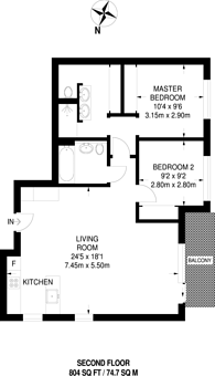 Large floorplan for West Hampstead Square, West Hampstead, NW6