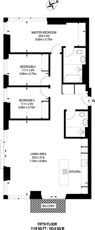 Large floorplan for Lillie Square, Fulham, SW6