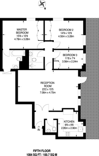 Large floorplan for Clarendon Place, Hyde Park Estate, W2