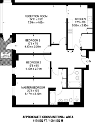 Large floorplan for Pulse Apartments, West Hampstead, NW6