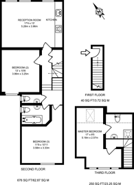 Large floorplan for Saltram Crescent, Maida Hill, W9
