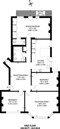 Large floorplan for Cholmley Gardens, Fortune Green, NW6