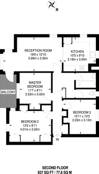 Large floorplan for Linden Court, Shepherd's Bush, W12