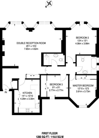 Large floorplan for York Street, Marylebone, W1H