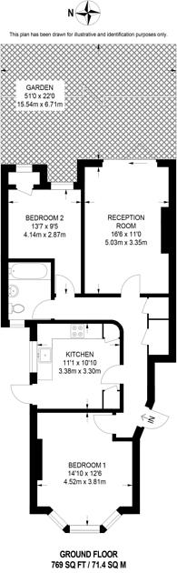 Large floorplan for Downs Road, Beckenham, BR3