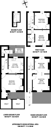 Large floorplan for St Philips Way, Islington, N1