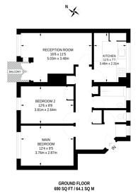 Large floorplan for Hayward Gardens, Putney, SW15