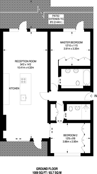 Large floorplan for Rayners Road, Putney, SW15