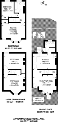 Large floorplan for St Antonys Road, Forest Gate, E7