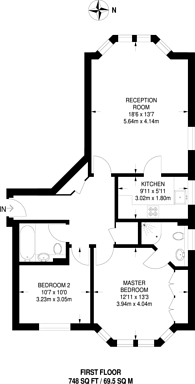 Large floorplan for Clarence Mews, Clapham South, SW12
