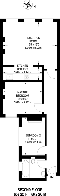 Large floorplan for North End Road, Fulham, SW6