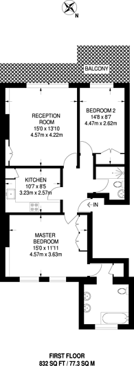 Large floorplan for Earls Court Road, Kensington, Kensington, W8