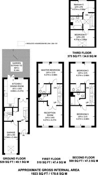 Large floorplan for Malbrook Road, West Putney, SW15