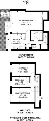 Large floorplan for John Ruskin Street, Camberwell, SE5