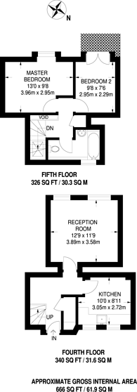 Large floorplan for Arlington Road, Camden Town, NW1