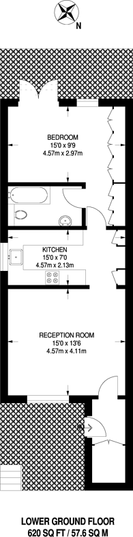 Large floorplan for King George Square, Richmond Hill, TW10