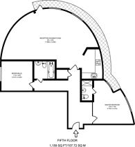 Large floorplan for Admirals Tower, Greenwich, SE10