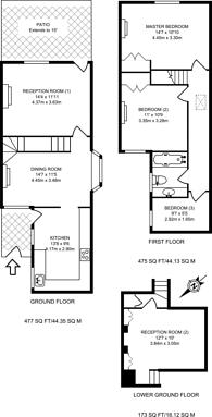Large floorplan for Oldfield Road, Wimbledon Village, SW19