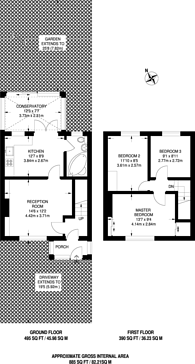 Large floorplan for New Close, Colliers Wood, SW19
