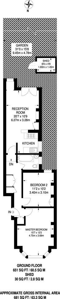Large floorplan for Oxford Gardens, North Kensington, W10