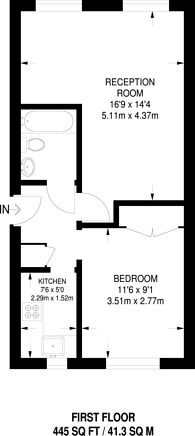 Large floorplan for Hungerford Road, Islington, N7
