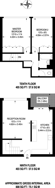 Large floorplan for Grantham Road, Clapham North, SW9